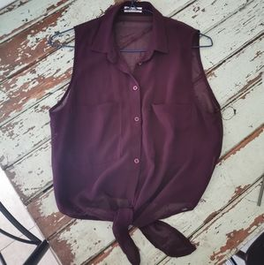 Semi-sheer button up sleeveless blouse with tie